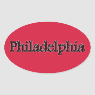 Philadelphia - Grey Letters - On Red Stickers