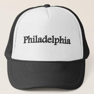 Philadelphia - Grey Letters - On White Trucker Hat