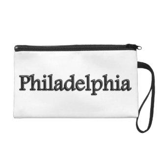Philadelphia - Grey Letters - On White Wristlets