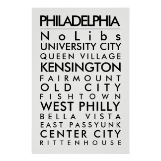 Philadelphia hoods 24x36 Poster size black txt