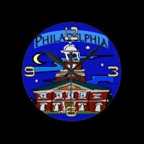 Philadelphia Independence Hall Night wall clocks