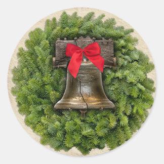 Philadelphia Liberty Bell Wreath on Parchment Classic Round Sticker