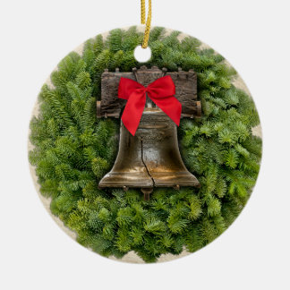 Philadelphia Liberty Bell Wreath on Parchment Double-Sided Ceramic Round Christmas Ornament