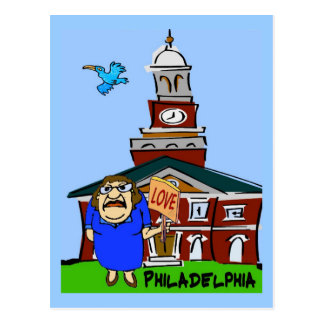 Philadelphia LOVE Cartoon Postcard