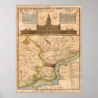 Philadelphia Map 1750 replica Poster