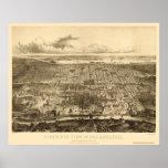 Philadelphia, mapa panorámico del PA - 1857 Póster