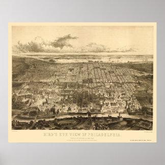 Philadelphia mapa panorámico del PA - 1857 Posters