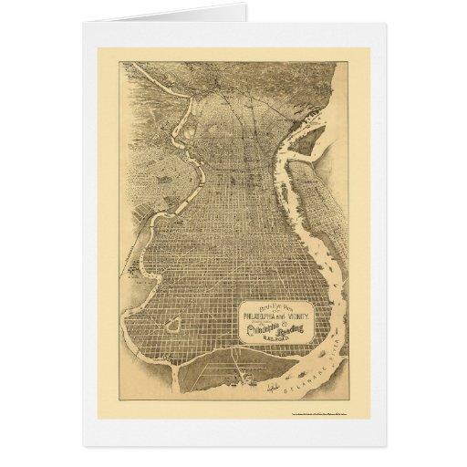 Philadelphia, mapa panorámico del PA - 1870 Tarjeta De Felicitación