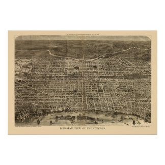 Philadelphia mapa panorámico del PA - 1872 Impresiones