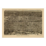 Philadelphia, mapa panorámico del PA - 1872 Póster