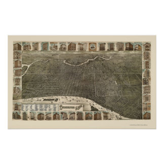 Philadelphia mapa panorámico del PA - 1886 Impresiones