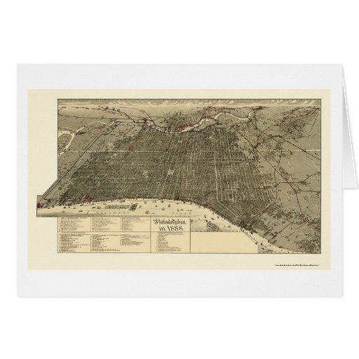 Philadelphia, mapa panorámico del PA - 1888 Tarjeta De Felicitación