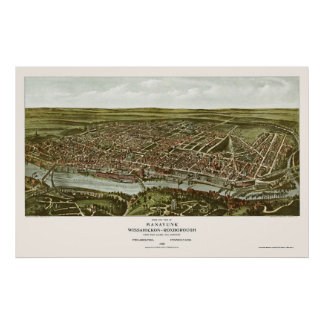 Philadelphia mapa panorámico del PA - 1907 Impresiones