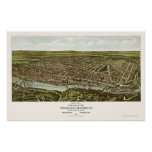 Philadelphia, mapa panorámico del PA - 1907 Póster