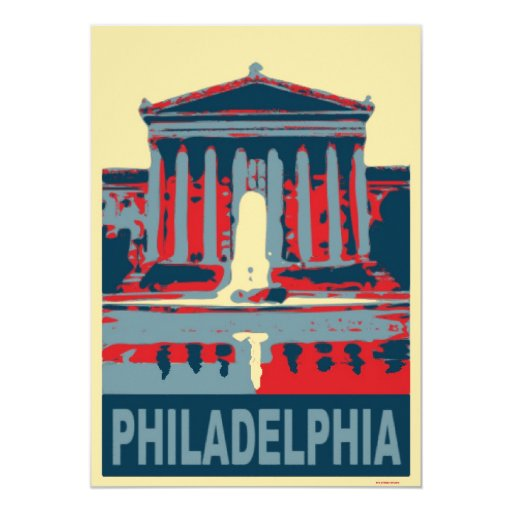 Philadelphia Museum in Blue 5x7 Paper Invitation Card