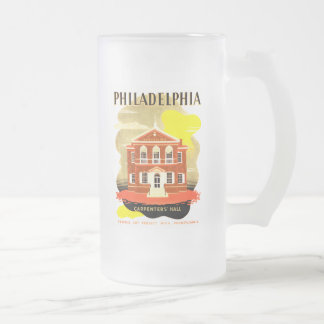 Philadelphia Pa. Carpenters Hall, WPA 1936 Frosted Glass Beer Mug