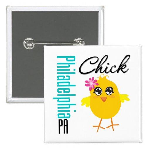 Philadelphia PA Chick 2 Inch Square Button