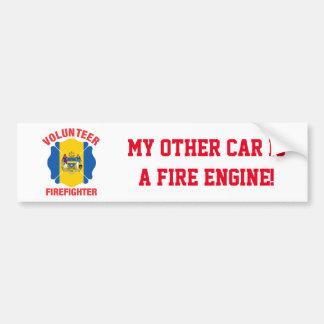 Philadelphia, PA Flag Volunteer Firefighter Cross Bumper Sticker
