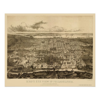 Philadelphia PA Panoramic Map - 1857 Poster