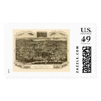 Philadelphia, PA Panoramic Map - 1876 Postage