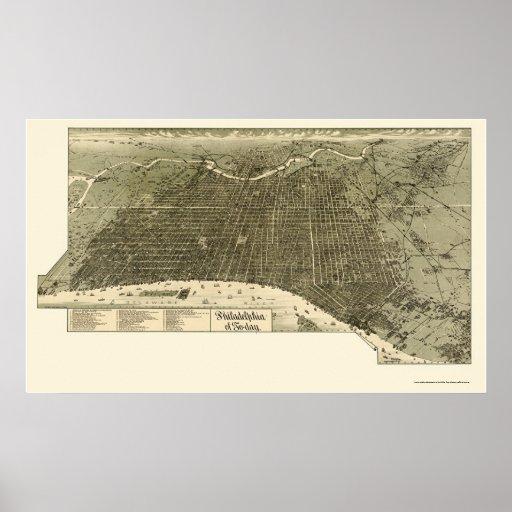Philadelphia, PA Panoramic Map - 1887 Poster