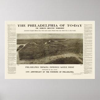 Philadelphia, PA Panoramic Map - 1908 Poster