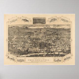 Philadelphia PA Panoramic Map DIGITALLY REMASTERED Poster