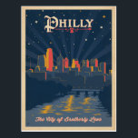 """Philadelphia, PA Postcard<br><div class=""""desc"""">Anderson Design Group is an award-winning illustration and design firm in Nashville,  Tennessee. Founder Joel Anderson directs a team of talented artists to create original poster art that looks like classic vintage advertising prints from the 1920s to the 1960s.</div>"""
