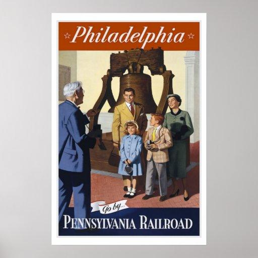 Philadelphia PA Railroad US USA Vintage Travel Poster