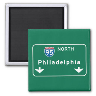Philadelphia, PA Road Sign 2 Inch Square Magnet
