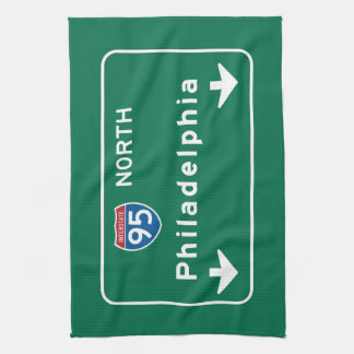 Philadelphia, PA Road Sign Hand Towel