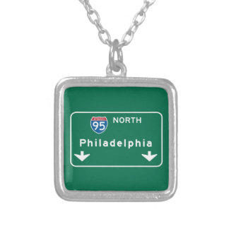 Philadelphia, PA Road Sign Personalized Necklace