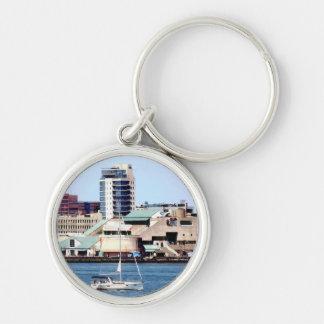 Philadelphia PA - Sailboat by Penn's Landing Keychain
