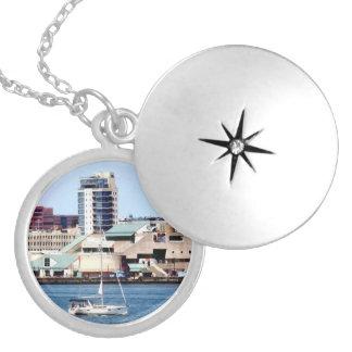 Philadelphia PA - Sailboat by Penn's Landing Locket Necklace