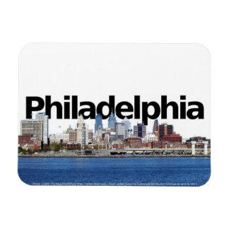 Philadelphia PA Skyline with Philadelphiin the Sky Rectangular Photo Magnet