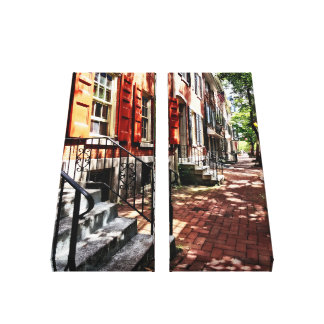Philadelphia PA Street With Orange Shutters Canvas Print