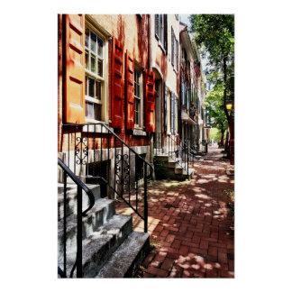 Philadelphia PA Street With Orange Shutters Poster