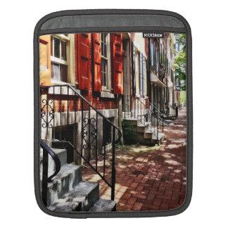 Philadelphia PA Street With Orange Shutters Sleeves For iPads