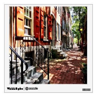 Philadelphia PA Street With Orange Shutters Wall Decal