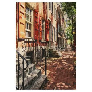 Philadelphia PA Street With Orange Shutters Wood Poster