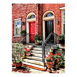 Philadelphia PA - Townhouse With Red Geraniums Postcard