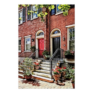 Philadelphia PA - Townhouse With Red Geraniums Poster