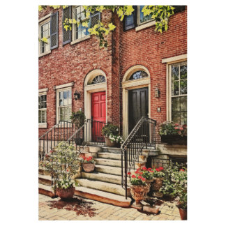 Philadelphia PA - Townhouse With Red Geraniums Wood Poster