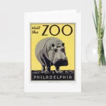 Philadelphia PA Zoo Hippo 1936 WPA Card