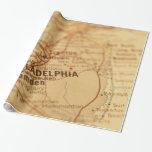 Philadelphia, papel de regalo del mapa del vintage
