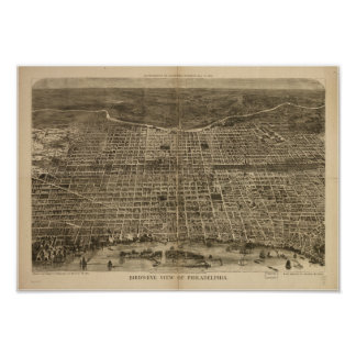 Philadelphia Penn 1872 Antique Panoramic Map Poster