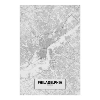 Philadelphia, Pennsylvania (black on white) Poster