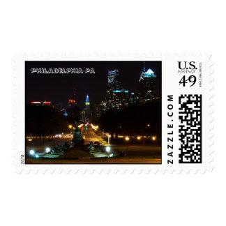 Philadelphia Pennsylvania, Downtown at night. Postage