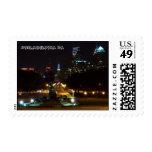 Philadelphia Pennsylvania, Downtown at night. Postage Stamp