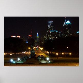 Philadelphia Pennsylvania, Downtown at night. Poster